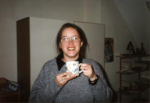 Cathy Enjoys a Cup of Coffee